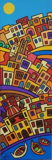 Stadt, Birgu, Malta, Malerei