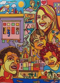 Buch, Familie, Italien, Malerei
