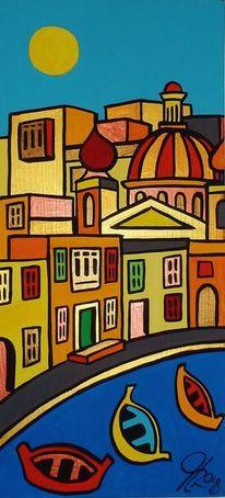 Malta, Dorf, Meer, Malerei