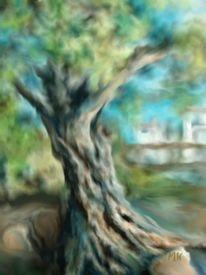 Baum, Landschaft, Digital, Digitale kunst