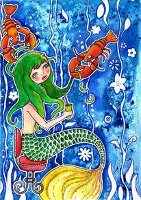 Hummer, Haare schneiden, Meerjungfrau, Aquarell