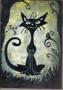 Acrylmalerei, Comic, Katze, Malerei