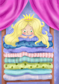 Illustration, Prinzessin, Erbse, Kinderbild