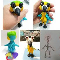Papagei, Charakterdesign, Polymerclay, Vogel