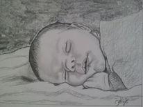 Baby, Kinder, Portrait, Bleistiftzeichnung