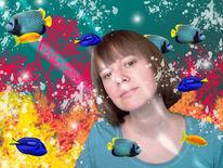 Selbstportrait, Fisch, Unterwasser, Pinnwand