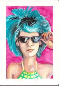 Frau, Blaue haare, Sonnenbrillen, Aquarell