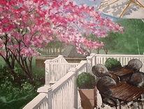 Golfplatz, Terasse, Acrylmalerei, Malerei