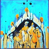 Acrylmalerei, Menschen ansammlung, Lilith milkyway, Schwarzlicht