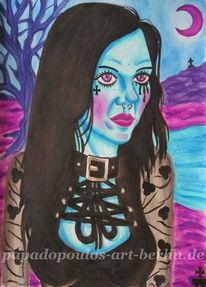 Blau, Surreal, Frau, Baum