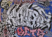 Grau, Samurai, Bleistiftzeichnung, Rap