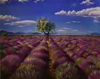 In der provence, Acrylmalerei, Lavendelfeld, Malerei