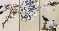 Schnipsel, Wurm, Kirschblüten, Mischtechnik