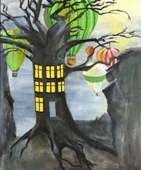 Heisslufballon, Wurzel, Tag, Baum