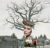 Gesicht, Baum, Frau, Vogel