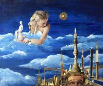 Licht, Frau, Wolken, Mann