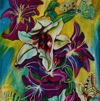 Blumen, Schmetterling, Lilien, Kunsthandwerk