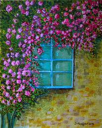 Fenster, Alt, Heckenrosen, Blüte