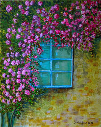 Fenster, Alt, Blüte, Wildrosen