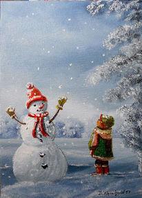 Kind, Winterlandschaft, Schnee, Glitzern