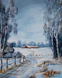 Kälte, Bauernhof, Glitzern, Zaun