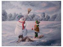 Hund, Flocken, Winterlandschaft, Schnee