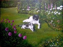 Hund, Katze, Garten blumen, Malerei