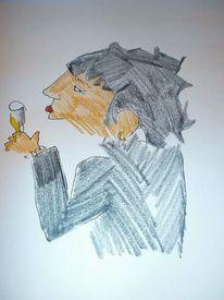 Menschen, Blindportraits, Zeichnungen, Weizen