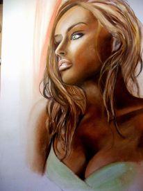 Frau, Sehnsucht, Fenster, Pastellmalerei