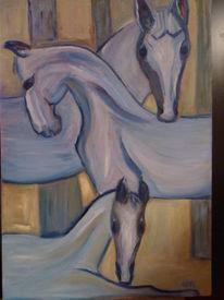 Wiese, Leidenschaft, Malerei, Pferde