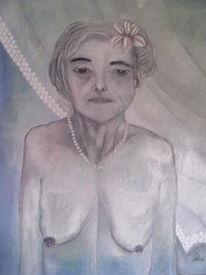 Alte frau, Ölmalerei, Vergänglichkeit, Malerei