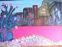Bedrohung, Rose, Ölmalerei, Ruine