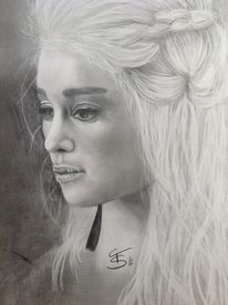 Daenerys targaryen, Game of thrones, Bleistiftzeichnung, Portrait