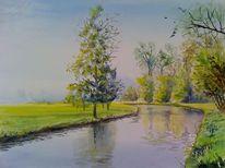 Weite, Landschaft, Fluss, Grün