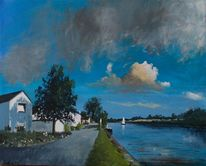 Wolken, Fluss, Boot, Häuser