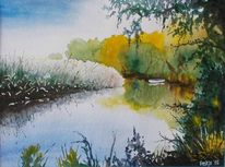 Gewässer, Boot, Wald, Landschaft