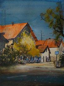 Terrasse, Gebäude, Café, Straße