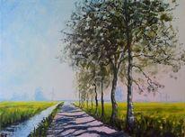 Fluss, Wiese, Birken, Windräder