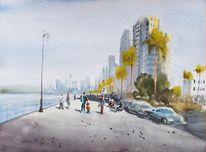 Promenade, Familie, Küste, Stadt