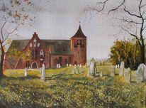 Wiese, Baum, Kirche, Natur