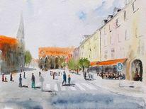 Straße, Menschen, Café, Stadt