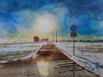 Schnee, Winter, Weg, Gegenlicht