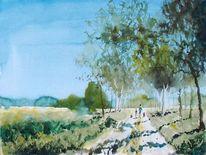 Feldweg, Sonne, Menschen, Baum