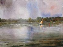 Landschaft, Sonnenuntergang, Segelboot, Natur