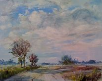 Marsch, Landschaft, Wolken, Wolkenberge