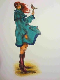 Moderne kunst, Herbst, Zeichnung, Mädchen