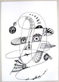 Federzeichnung, Zeichnung, Schwarz weiß, Clown