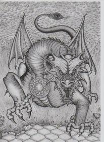 Drache, Fantasie, Mythologie, Rapidograph