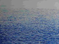 Monochrom, Meereswellen, Horizont, Blau