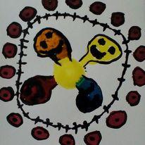 Gelb, Augen, Blau, Malerei